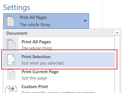 Microsoft Word 2016 - Print Selection
