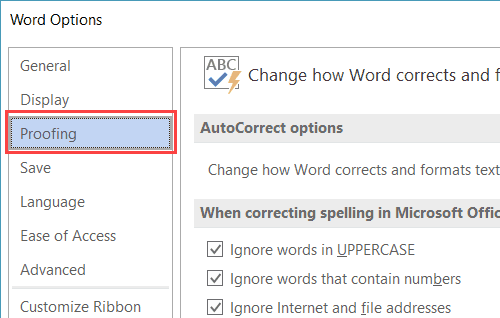 Proofing Option in Microsoft Word 2016