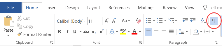 Show hide Paragraph in MS Word
