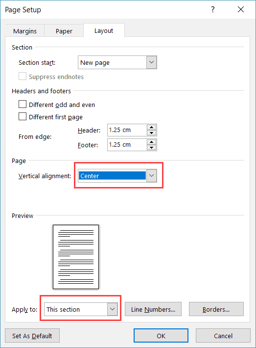 center text vertically in word table - Page Setup dialog box