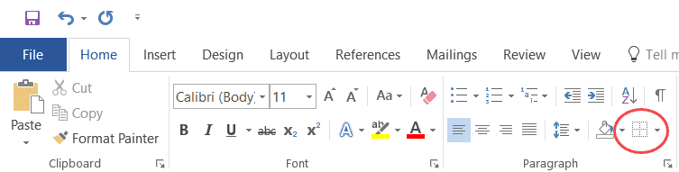 Border Option in Microsoft Word