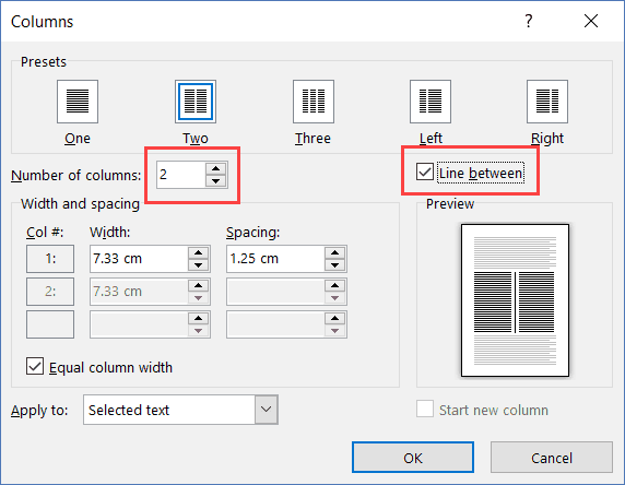 Column Option in Microsoft Word to insert line in between paragraphs