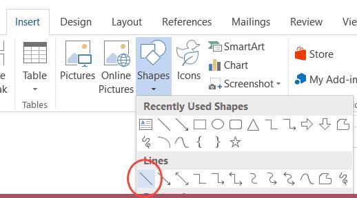 Insert a line shape in microsoft word