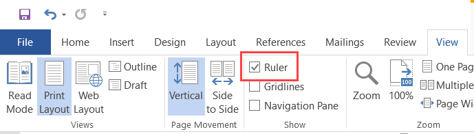Make sure the Ruler Option is checked