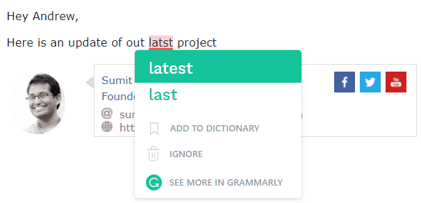 Free Productivity Tools - Grammarly suggestion