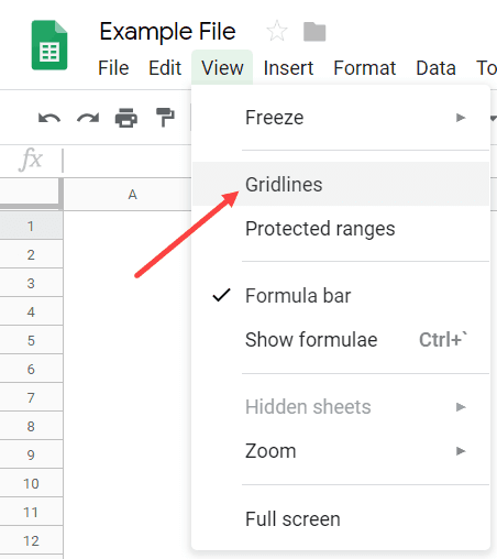 Uncheck the Gridline Option in Google Sheets