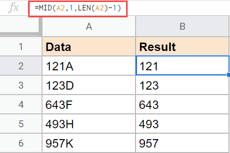 Using MID formula to remove the last character