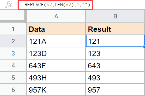 Using REPLACE formula to remove the last character