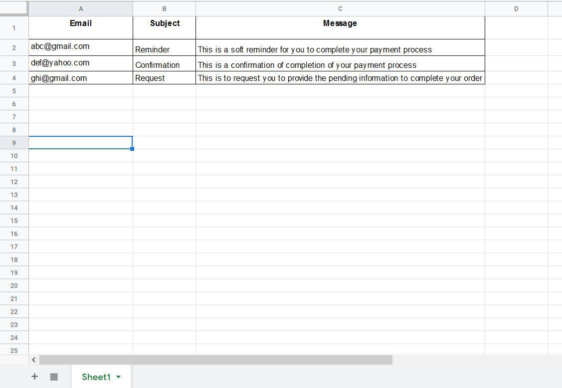 Send email from Google Sheets