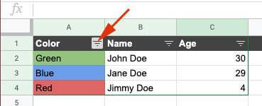 Click on filter option in the column header