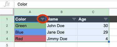 Click on the Filter option in the column header