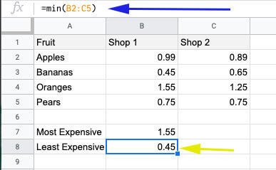 Compare two columns in Google Sheets to find minimum value