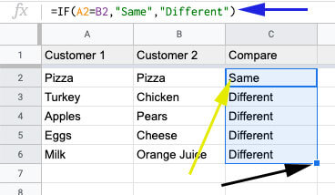 Formula to compare cells and get descriptive result