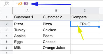 Formula to compare two cells in the same row