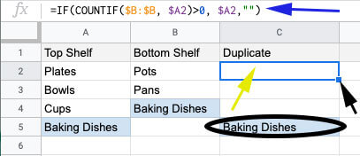 How to build a list of duplicates between two columns