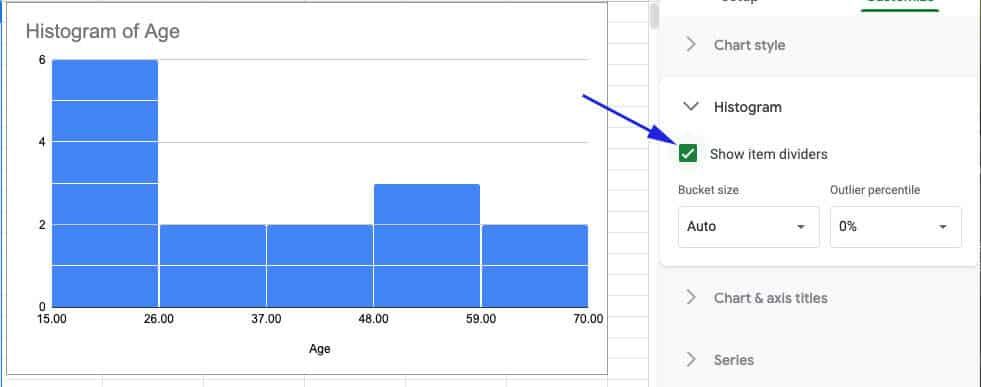 Show item dividers in the histogram