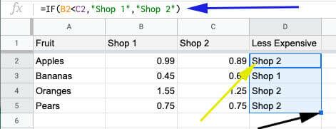 conditional comparison across two columns
