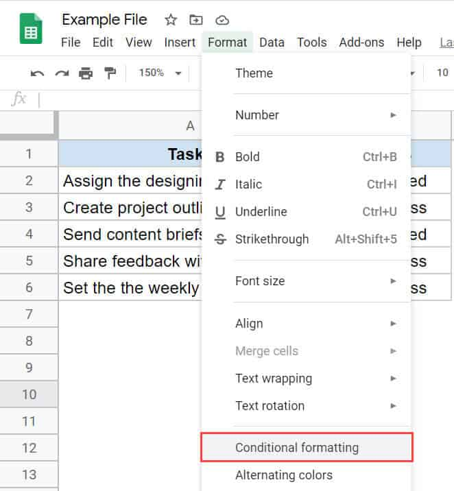 Click on conditional formatting option