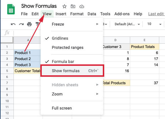 Click the view tab and then click on show formulas