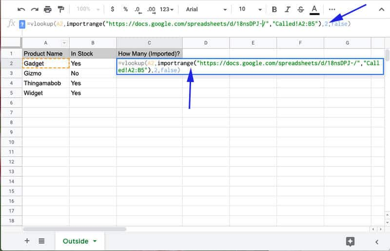 Importrange to vlookup in another workbook