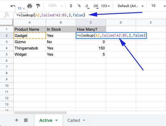 vlookup to reference another sheet