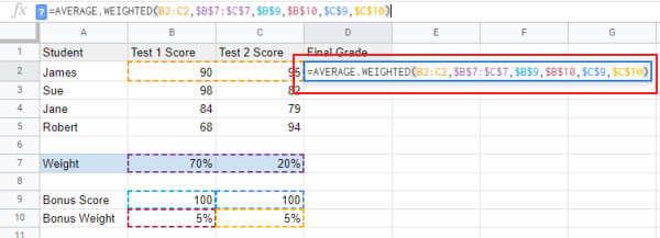 Average weighted formula with bonus score