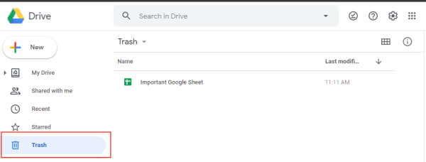 Clcik on Trash in Google Drive