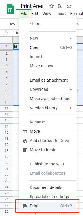 Click the File option and then click on Print