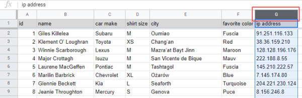 Click the destination column