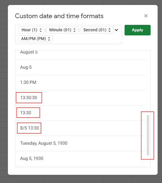 Custom date and time format