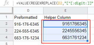 Drag the formula to all columns