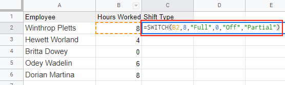 Enter the SWITCH formula in the top most cell