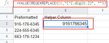 Formula to remove phone number formatting