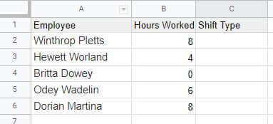 Hours worked data for switch function
