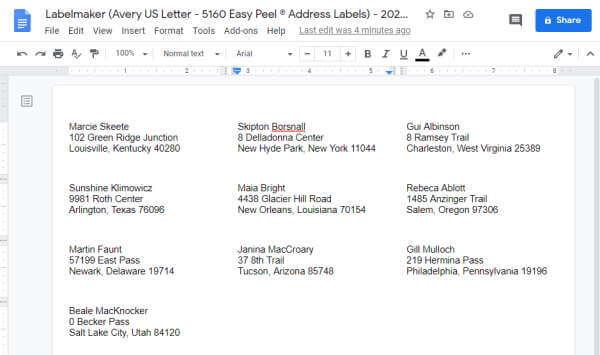 Labels in Google Docs