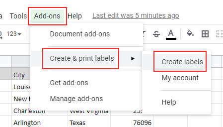 Launch the create label addon