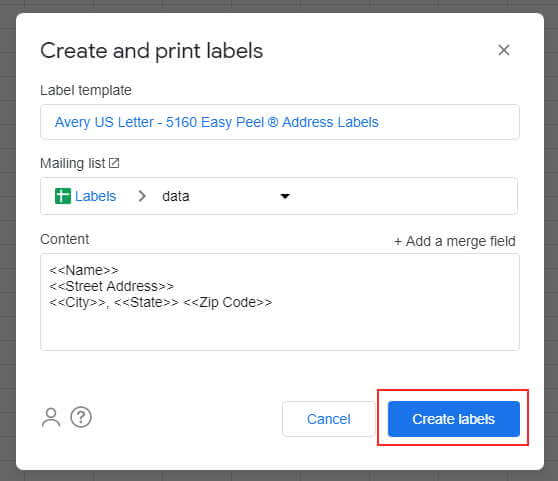 Open document to view print labels