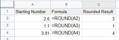 ROUND Numbers in Google Sheets using Functions