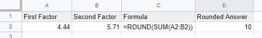 ROUND formula results