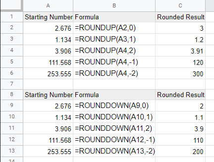 ROUNDUP and ROUNDDOWN functions