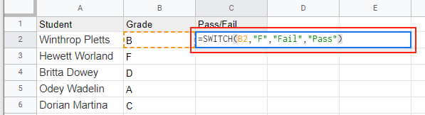 SWITCH functiont to get pass fail