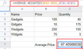Weighted average using the AVERAGE WEIGHTED formula