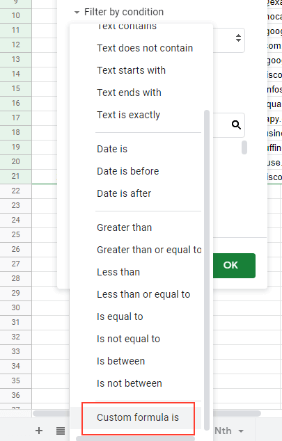 Click on Custom formula is