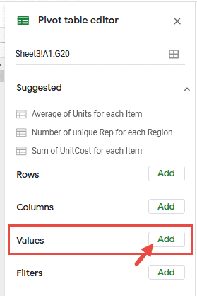 Add Values from Pivot Table Editor