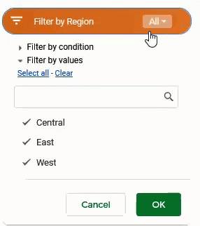 All Slicer options in the drop down
