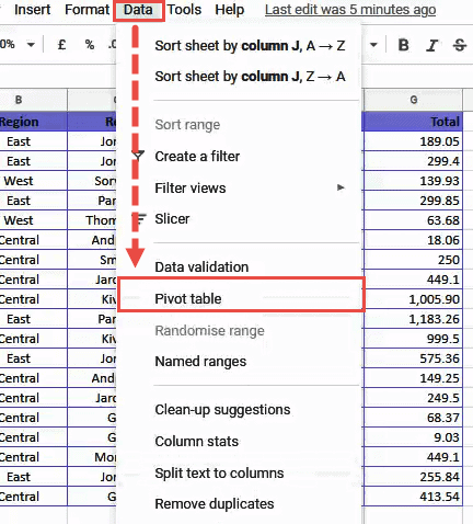 Click Data and then on Pivot Table