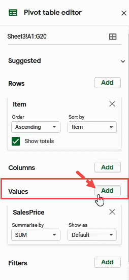 Click on Add Values button