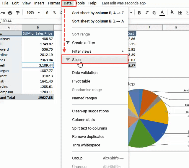 Click on Data and then on Slicer