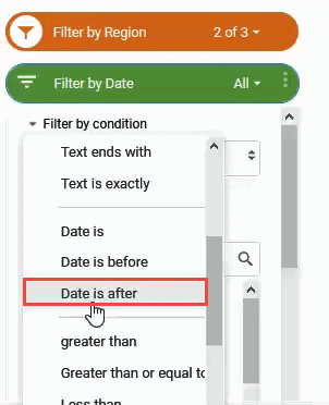 Click on the Date is after filter