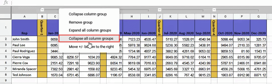 Collapse all column groups